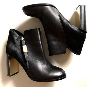 9.5 SEE BY CHLOE Pony Hair Booties with Gold Heels